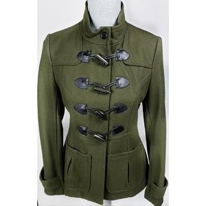 Tulle Wool Olive Green Military Style Toggles Coat